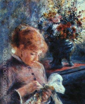 Lady Sewing 1879 - Pierre Auguste Renoir reproduction oil painting