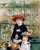 Two Sisters on the Terrace - Pierre Auguste Renoir reproduction oil painting