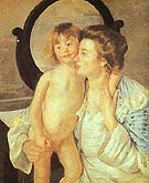 Mother and Child 1901 (Oval Mirror) - Mary Cassatt reproduction oil painting