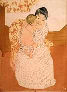 Mother's Caress - Mary Cassatt reproduction oil painting