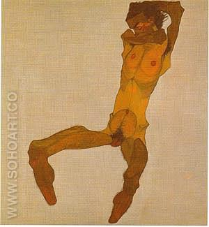 Seated Nude Male1910 - Egon Scheile reproduction oil painting