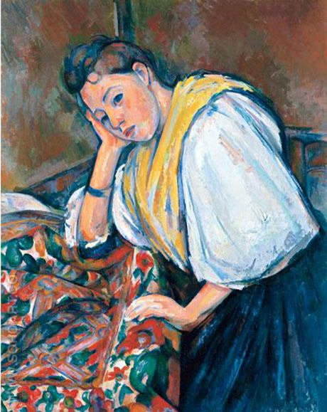 Young Italian Girl Resting on her Elbow 1910 - Paul Cezanne reproduction oil painting