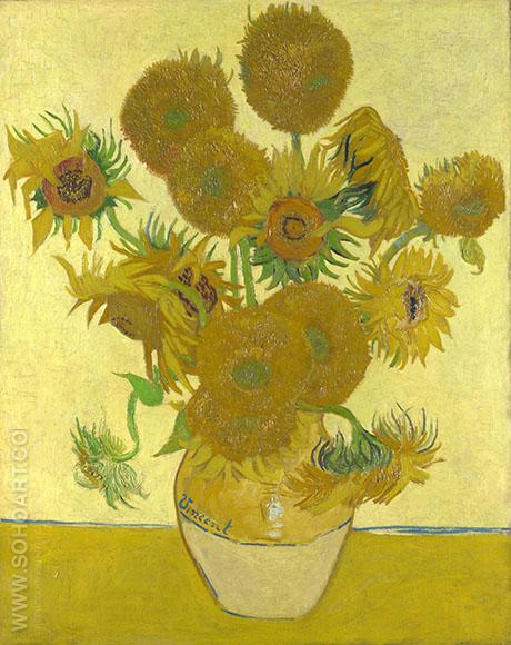 Vase with Fifteen Sunflowers 1888 - Vincent van Gogh reproduction oil painting