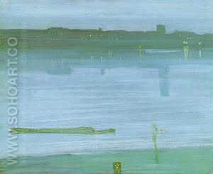Nocturne: Blue and Silver - Chelsea  1871 - James McNeill Whistler reproduction oil painting