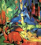Deer in the Forest 1914 - Franz Marc reproduction oil painting