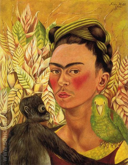 Self Portrait with Monkey Parrot 1942 - Frida Kahlo reproduction oil painting