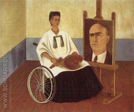 Self Portrait with the Portrait of Doctor Farill 1951 - Frida Kahlo reproduction oil painting