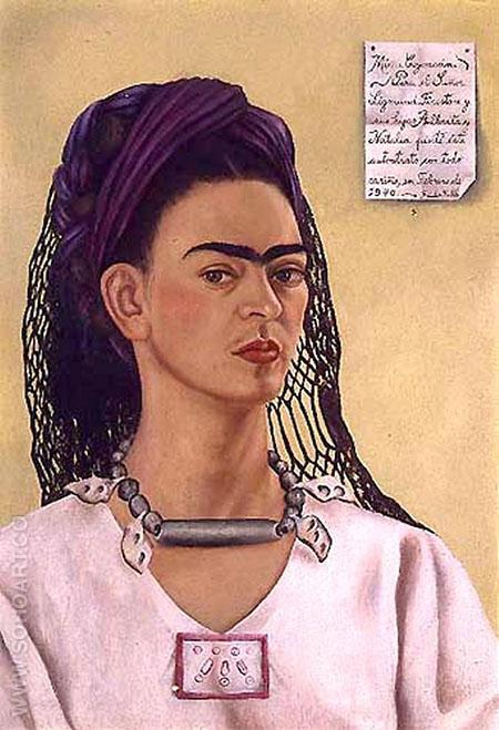 Self Portrait Dedicated to Sigmund Firestone 1940 - Frida Kahlo reproduction oil painting
