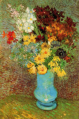 Vase with Dasies and Anemones 1887 - Vincent van Gogh reproduction oil painting