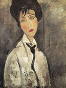Woman with Black Necktie  1917 - Amedeo Modigliani reproduction oil painting