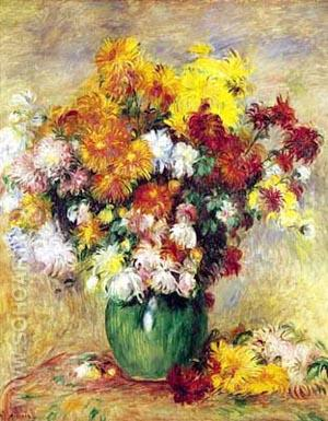 Bouquet of Chrysanthemums - Pierre Auguste Renoir reproduction oil painting