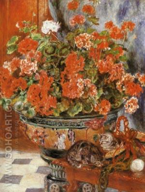 Geraniums and Cats 1881 - Pierre Auguste Renoir reproduction oil painting