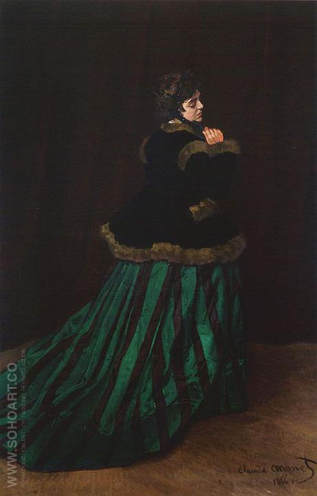 Woman in a Green Dress, 1866 - Claude Monet reproduction oil painting