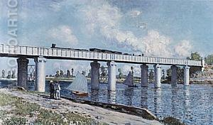 The Railroad Bridge at Argenteuil, 1873 - Claude Monet reproduction oil painting