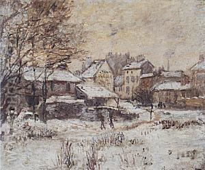 Effect of Snow, Setting Sun, 1874-75 - Claude Monet reproduction oil painting