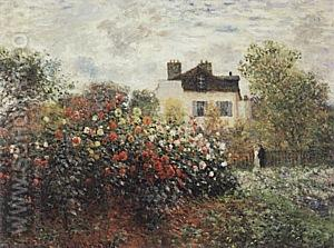 A Corner of the Garden with Dahlias, 1873 - Claude Monet reproduction oil painting