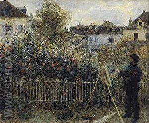Monet Painting in his Argenteuil Garden, 1873 - Claude Monet reproduction oil painting