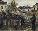 Monet Painting in his Argenteuil Garden, 1873 - Claude Monet reproduction oil painting
