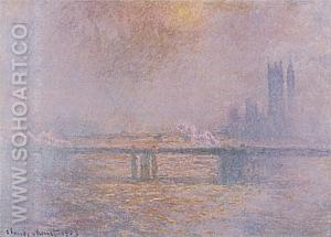 Charing Cross Bridge (Overcast Day), 1899-1900 - Claude Monet reproduction oil painting