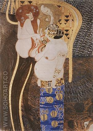 Beethoven Frieze Detail, 1902 - Gustav Klimt reproduction oil painting