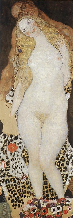 Adam + Eve, 1917/18 - Gustav Klimt reproduction oil painting