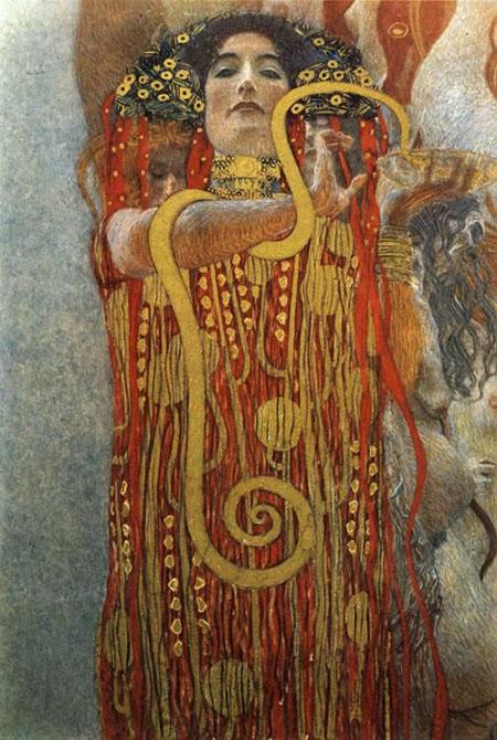 Hygenia-Detail Medicine, 1900 - Gustav Klimt reproduction oil painting