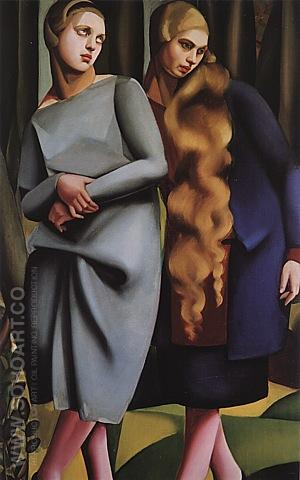 Irene and her Sister, 1925 - Tamara de Lempicka reproduction oil painting