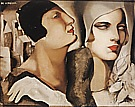 Two Woman with Cloches, 1925 - Tamara de Lempicka reproduction oil painting