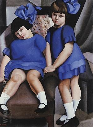 Two Little Girls with Ribbons, 1925 - Tamara de Lempicka reproduction oil painting