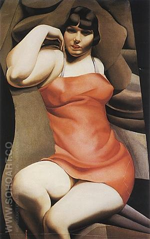 The Pink Tunic, 1927 - Tamara de Lempicka reproduction oil painting