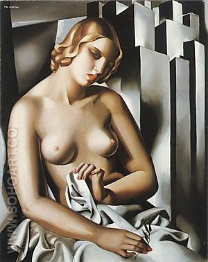 Nude with Buildings, 1930 - Tamara de Lempicka reproduction oil painting