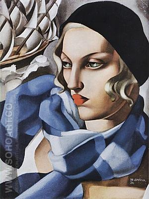 The Blue Scarf, 1930 - Tamara de Lempicka reproduction oil painting