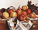 Still Life of Fruits and Silk Drape, 1949 - Tamara de Lempicka reproduction oil painting