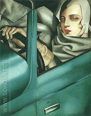 Auto Portrait Green Bugatti - Tamara de Lempicka reproduction oil painting