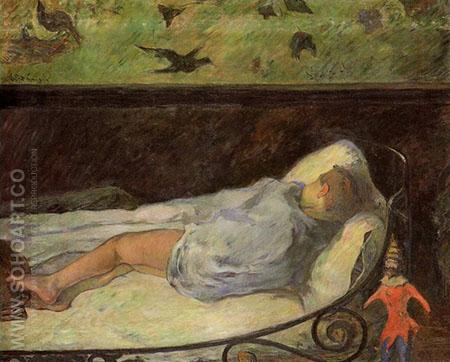 Young Girl Dreaming Study of a Child Asleep 1881 - Paul Gauguin reproduction oil painting