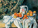 Still Life with Curtain and Flowered Pitcher 1899 - Paul Cezanne reproduction oil painting