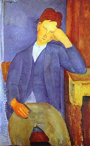 The Young Apprentice 1918 - Amedeo Modigliani reproduction oil painting