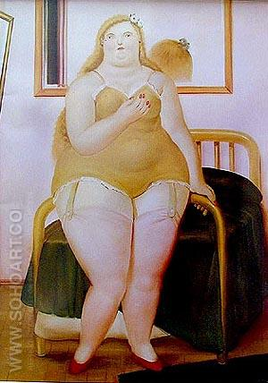 Woman Undressed 1987 - Fernando Botero reproduction oil painting
