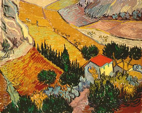 Landscape with House and Ploughman 1889 - Vincent van Gogh reproduction oil painting