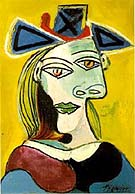 Tete de Femme au Chapeau Bleu Robe Rouge - Pablo Picasso reproduction oil painting