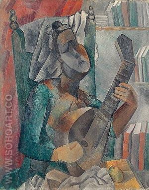 Woman with Mandolin - Pablo Picasso reproduction oil painting