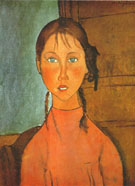 Girl with Pigtails - Amedeo Modigliani reproduction oil painting