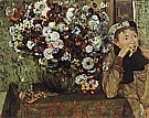 Woman with Chrysanthemums, 1865 - Edgar Degas reproduction oil painting
