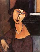 Jeanne Ha Cloche 1917 - Amedeo Modigliani reproduction oil painting