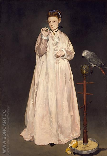 Woman with a Parrot 1866 - Edouard Manet reproduction oil painting