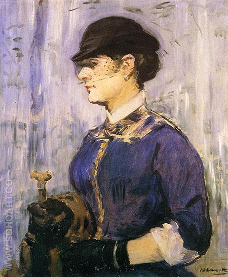 Young Woman in a Round Hat c1877 - Edouard Manet reproduction oil painting