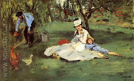 The Monet Family in their Garden 1874 - Edouard Manet reproduction oil painting