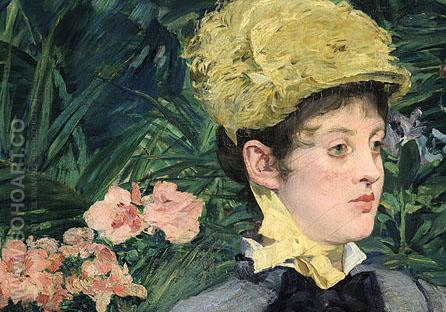 In the Conservatory Detail 1879 - Edouard Manet reproduction oil painting