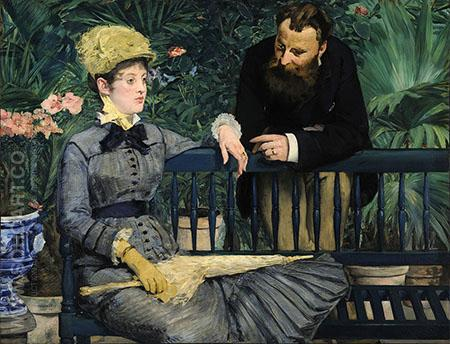 In the Conservatory 1879 - Edouard Manet reproduction oil painting