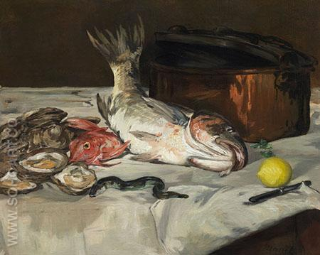 Fish Still Life 1864 - Edouard Manet reproduction oil painting